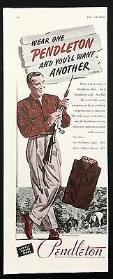 1948 Vintage Print Ad 1940s PENDLETON Shirt Men's Fashion Style Illustration