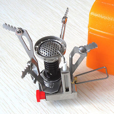 Portable Outdoor Picnic Gas Burner Foldable Camping Mini Steel Stove + Case Y18