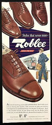 1948 Vintage Print Ad 1940s ROBLEE Shoes Foot Fashion Men's Style