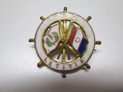 T.S.S. LETITIA  - Wheel Badge - enamel ships