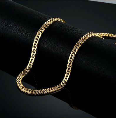 5mm High Quality 18K Gold 316L Stainless Steel Curb Cuban Chain Necklace 24""