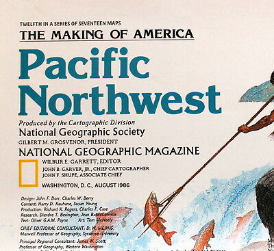 Pacific Northwest Making of America National Geographic Map / Poster Aug 1986
