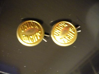 2 Small Vintage Union Pacific Railroad Brass Shank Buttons F,G. Clover New York