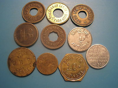 Vintage Mixed Lot of 10 Advertising Trade Tokens. Loom CHP Penn Keeny Candy Mint