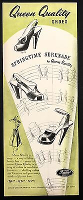 1948 Vintage Print Ad QUEEN QUALITY Woman's Foot Fashion Shoes Green