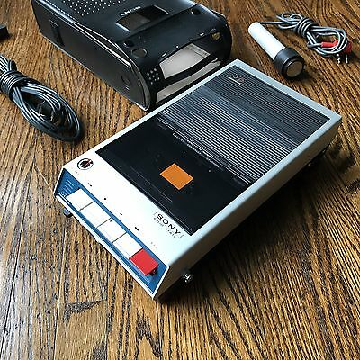 CBS Radio Sony Cassette Tape Recorder Solid State AB EasyMatic Case & Mic Vtg