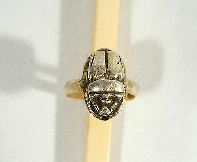 Old Egypt SCARAB BEETLE RING Size 6 STERLING 925 SILVER 6.3 grams size 6 1/2