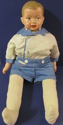 """Antique Elektra Composition/Cloth Body 30"""" Baby Boy Doll dated 1912-1920's RARE"""