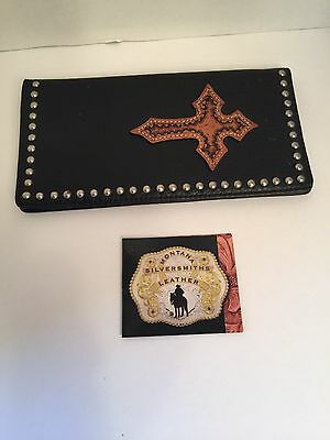 Montana West Men's Black Tooled Leather Long Western Bifold Wallet Rodeo Cowboy