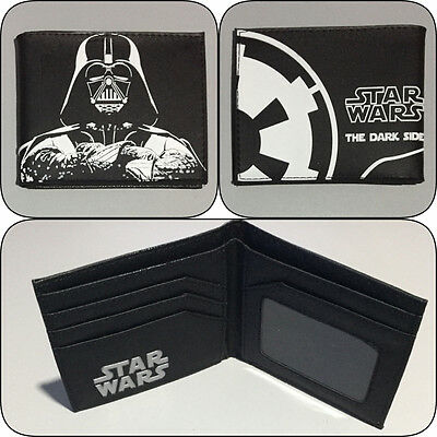 Star Wars Darth Vader Bi-Fold Wallet The Dark Side Mens Boys Photo Bifold Black