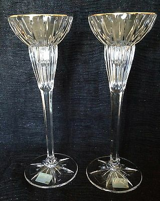 "VINTAGE GOLD TRIMMED CRYSTAL CANDLESTICK HOLDERS MIKASA 8 & 3/4"" MINT Set of 2!"