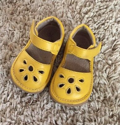 Baby Girls Yellow Leather Shoes With Flower Cut Out. Size 3.