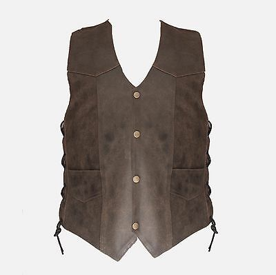 Mens Leather Motorcycle Vest BROWN Size MEDIUM MRS-2