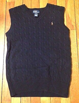 EUC Ralph Lauren Polo Boys Large 14-16 Navy Blue Sweater Vest