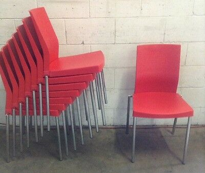 Used Commercial Cafe Restaurant Stackable Resin Red Chairs Italian Made RRP $120