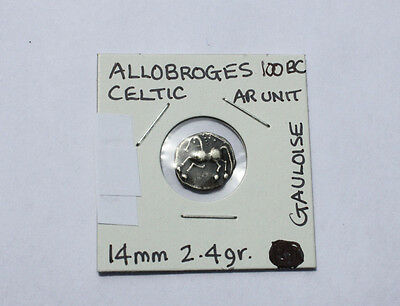 Allobroges::100 Bc::celtic Ar Unit::ef::silver Unit::france::gaulish