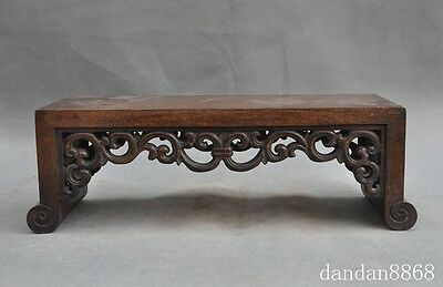 """16""""collect old china chinese huanghuali wood carved flower Shelves Base Pedestal"""