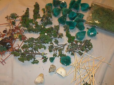 Assorted Greenery Trees for Model HO Scale Trains & Electric Line Poles Misc Pcs