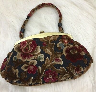 Vintage Garay Tapestry Handbag 1960's Floral Chenille Carpet Clutch Made in USA