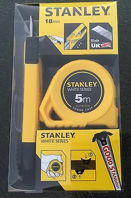 Stanley 5m Metric Tape Measure & 18mm Snap Off Knife Combo Set - Brand New