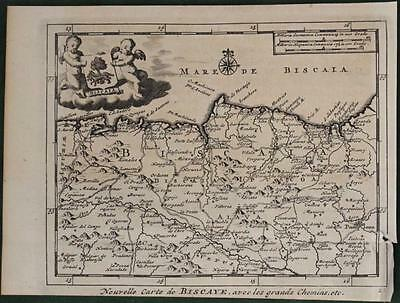 Biscay (Bizkaia Or Vizkaya) Spain 1707 Van Der Aa Antique Copper Engarved Map