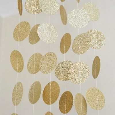 10 Ft Gold Glitter Circle Dots Paper Garland Party Home Decoration Banner