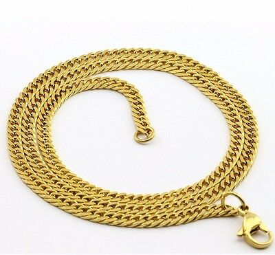 3mm High Quality 18K Gold 316L Stainless Steel Curb Cuban Chain Necklace 24""