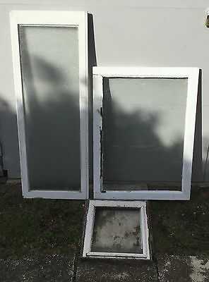 3 X Vintage Timber And Glass Windows