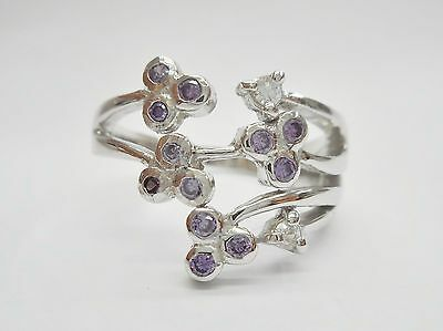 NWOT Sterling Silver Pink-Purple Cubic Zirconia Accent Posies Ring Size 9 #3057