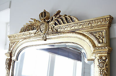 Stunning Extra Large 2.3 Mtr Tall French Louis Antique Gold Gilt Beveled Mirror