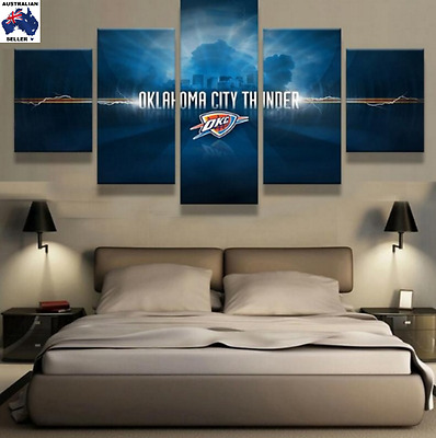 OKC Thunder Decor Canvas Wall Art Picture Landscape (5piece)