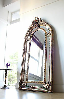 Stunning Large 1.7 Metre Tall French Louis Antique Gold Gilt Arch Beveled Mirror