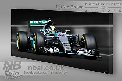 Lewis Hamilton 2015 F1 World Chamapion 30x15 Canvas Mercedes F1