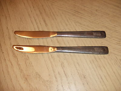 VINTAGE 1956 Western Airlines Silverplate Set of 2 Knives Indian Head Logo Chief
