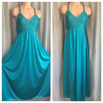 """Vtg MAIDENFORM Teal Nightgown Shiny Nylon Pleated Empire Lace Chiffon Bust 36"""""""