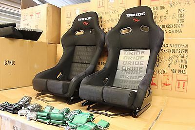 2x Bride lowmax VIOS II. Fixed back  Fiberglass Full black Grey stitching Large