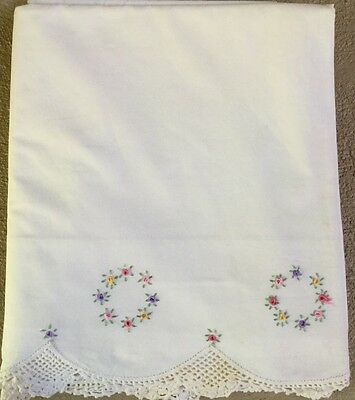 Antique Embroidered Linen Sheet Wreaths Of French Roses