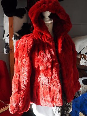 Childs Rabbit Fur Coat - A real Red Riding Hood - Stunning Soft Red Rabbit Fur