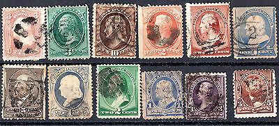 USA x 12 Very Early American Stamps. Used