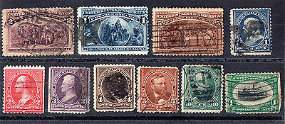 USA x 10 Very Early American Stamps. Used