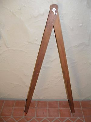 LONG ANTIQUE VINTAGE TIMBER WOODWORKING COMPASS TOOL. POINT & PENCIL. 48cm L