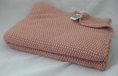 Mother's Day 100% Cotton Chunky SEED STITCH Pink THROW BLANKET 155x205cm