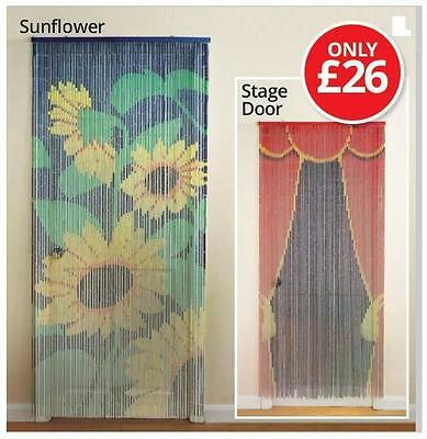 Bamboo Door Curtain, 65 beaded strips, 200x90cm, 6 designs, New