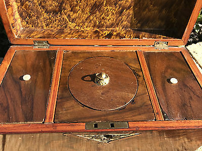 ANTIQUE VICTORIAN INLAID TEA CADDY BOX WITH WORKING LOCK & KEY, c.1800's