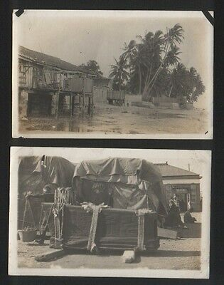2 OLD Postcards Chinese coffins Malaya RP #297