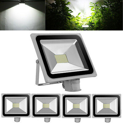 5X 80W LED Flood Light Cool White PIR Motion Sensor Lamp Outdoor Spotlight 240V