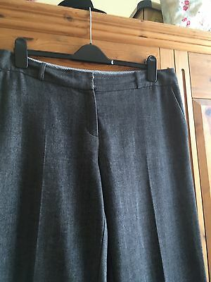 Smart Marks & Spencer Wide Leg Trousers Charcoal Grey Size 16