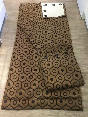 """82"""" Drop Pair Of Curtains Ring Top Eyelet Home Decor Brown Lined Heavy"""