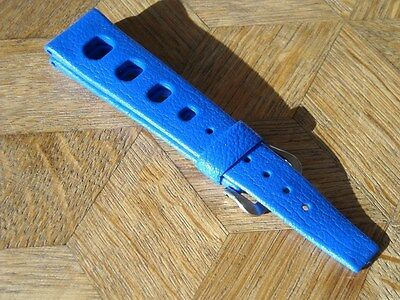 Genuine N.O.S. TROPIC SPORT Swiss Made strap. 20 mm. ELECTRIC BLUE.