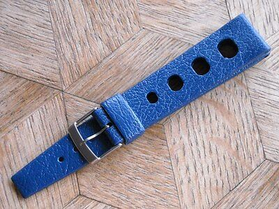 Genuine N.O.S. TROPIC SPORT Swiss Made strap. 19 mm. Dark Petrol Blue.